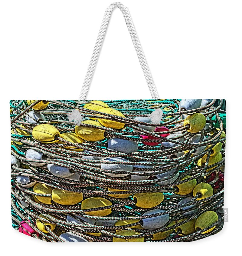 Hdr Weekender Tote Bag featuring the photograph Fish Net Hdr by Cathy Mahnke