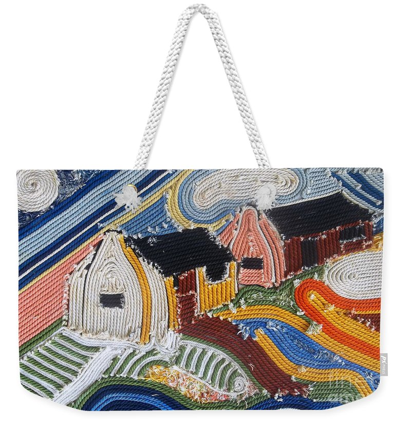 Fishing Village Weekender Tote Bag featuring the mixed media Fishermans Cottages String Collage by Caroline Street