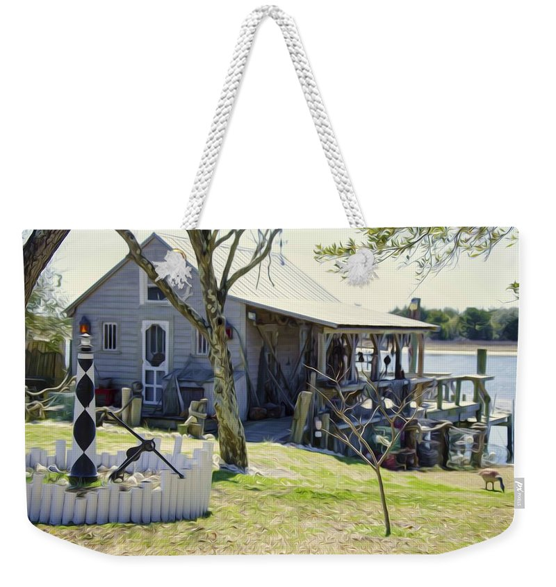 Swansboro Weekender Tote Bag featuring the painting Fisherman's House 3 by Jeelan Clark
