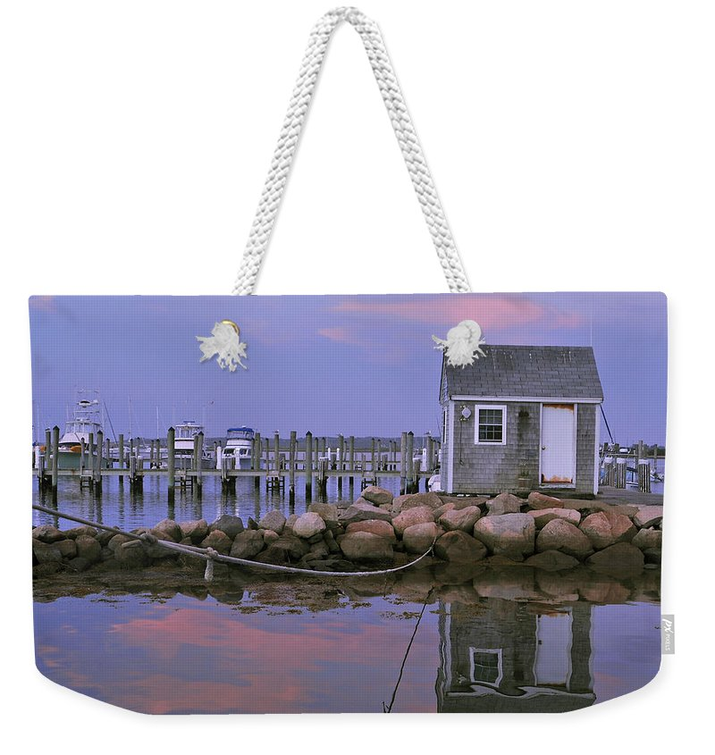 Landscape Weekender Tote Bag featuring the photograph Fisherman's Shack Sundown by Phyllis Tarlow