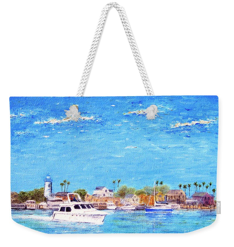 Boat Weekender Tote Bag featuring the painting Fisherman's Village by Jerome Stumphauzer