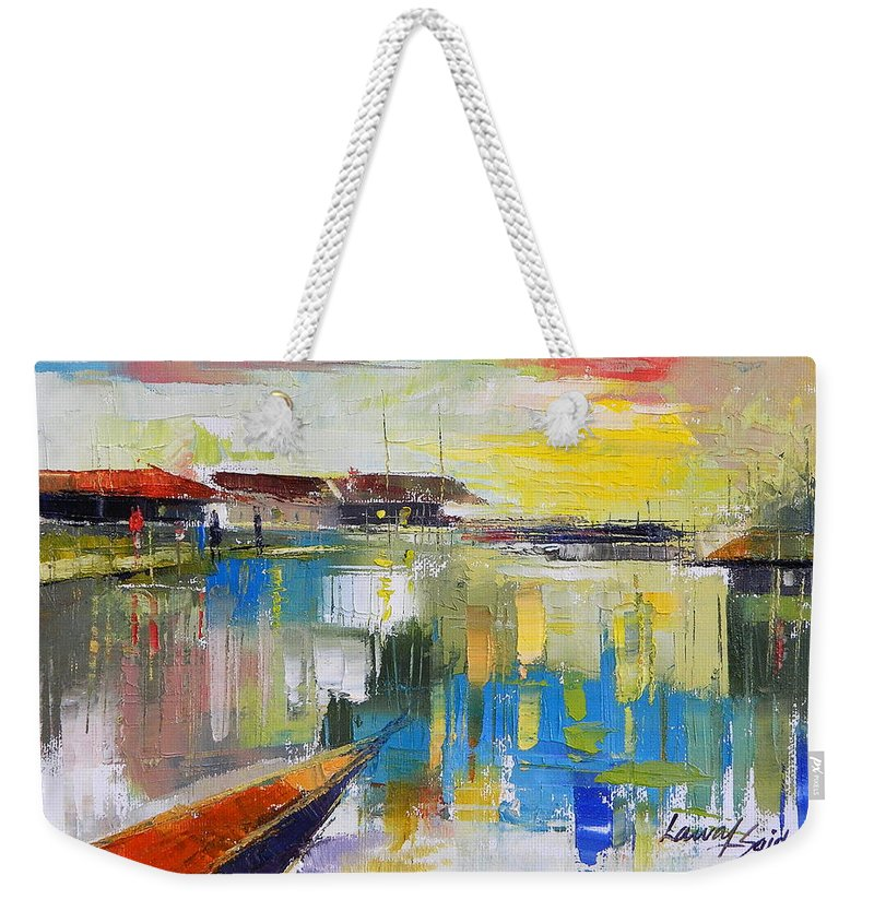 Water Weekender Tote Bag featuring the painting Fishers Haven by Said Oladejo-lawal