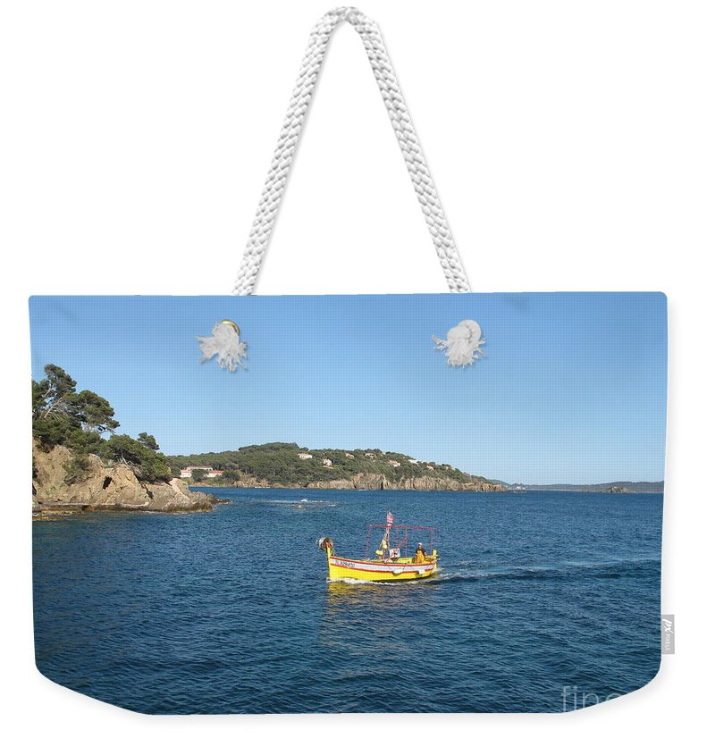 Boat Weekender Tote Bag featuring the photograph Fishing Boat - Cote D'azur by Christiane Schulze Art And Photography