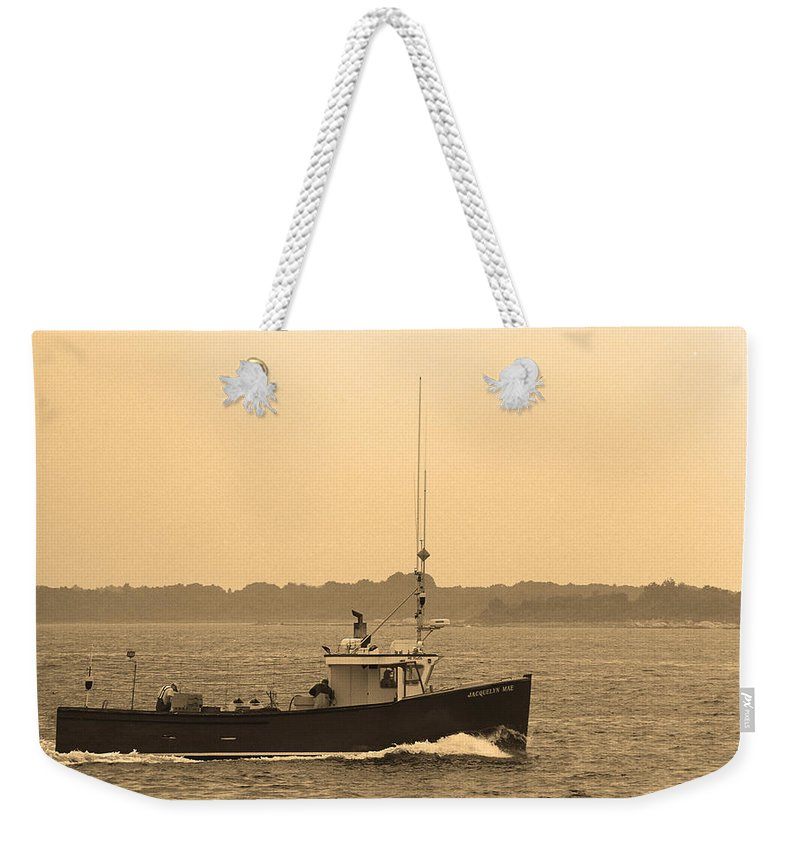 Adventure Weekender Tote Bag featuring the photograph Fishing Boat Portland Maine by Frank Romeo