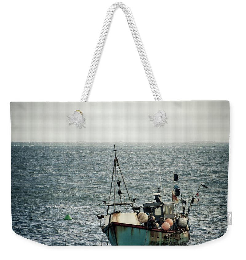 English Channel Weekender Tote Bag featuring the photograph Fishing Boat by Vfka