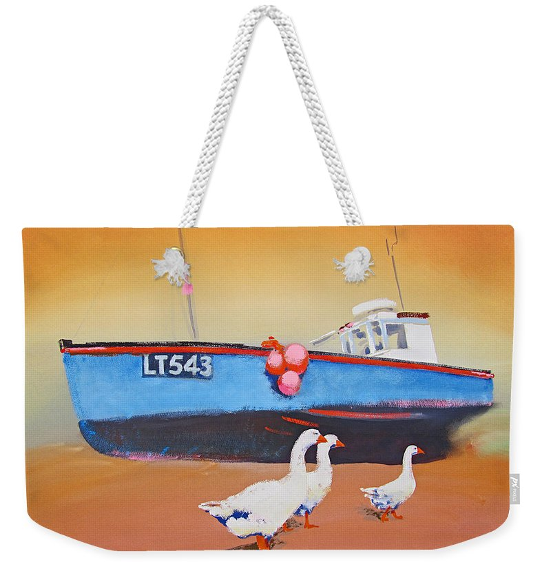 Geese Weekender Tote Bag featuring the painting Fishing Boat Walberswick With Geese by Charles Stuart