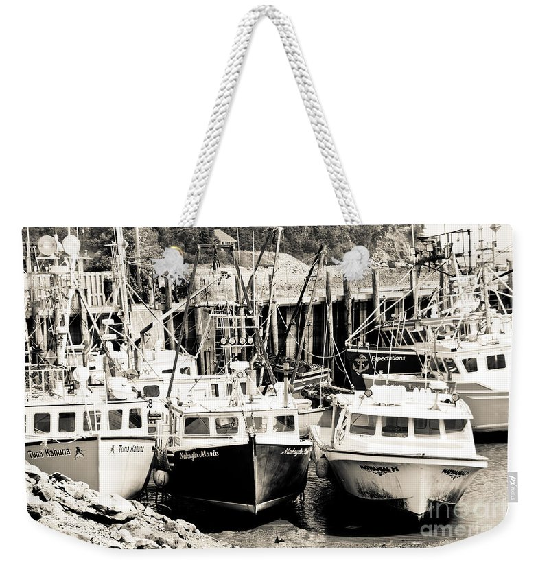 Weekender Tote Bag featuring the photograph Fishing Boats In Alma by Cheryl Baxter