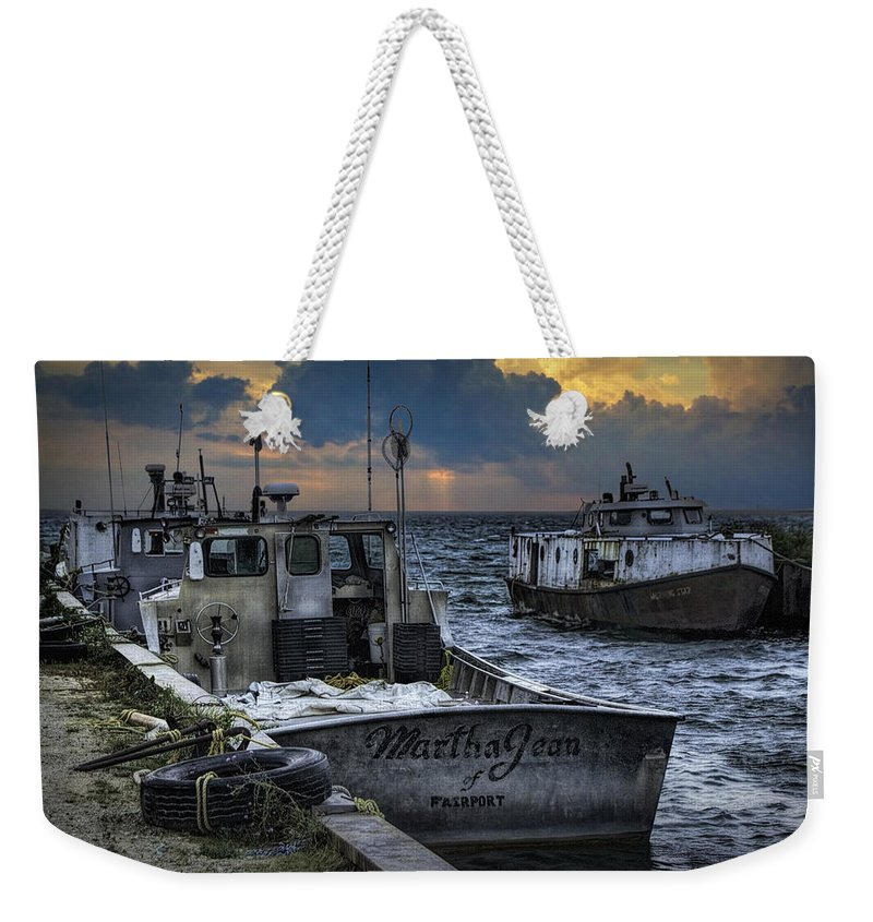 Art Weekender Tote Bag featuring the photograph Fishing Boats Moored In The Channel With Rain Storm Moving In by Randall Nyhof