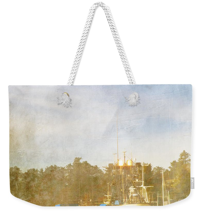 Fishing Weekender Tote Bag featuring the photograph Fishing Boats Newport Oregon by Carol Leigh
