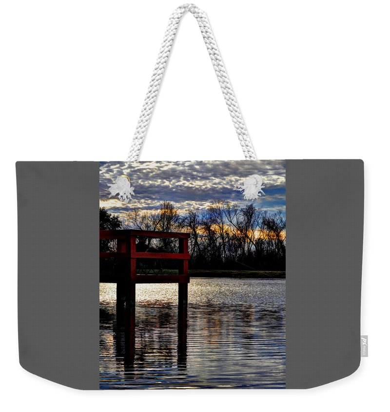 Fishing Weekender Tote Bag featuring the photograph Fishing Pier Sunset by Savannah Gibbs