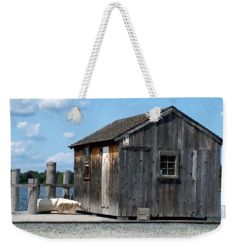 Shed Weekender Tote Bag featuring the painting Fishing Shack On The Mystic River by RC DeWinter