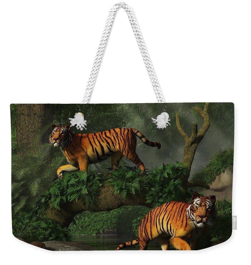 Tiger Weekender Tote Bag featuring the digital art Fishing Tigers by Daniel Eskridge