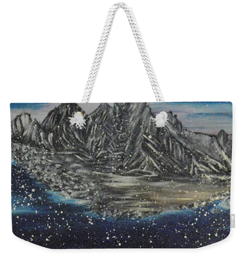 Snow Weekender Tote Bag featuring the painting Fishing Village In Winter by Suzanne Surber