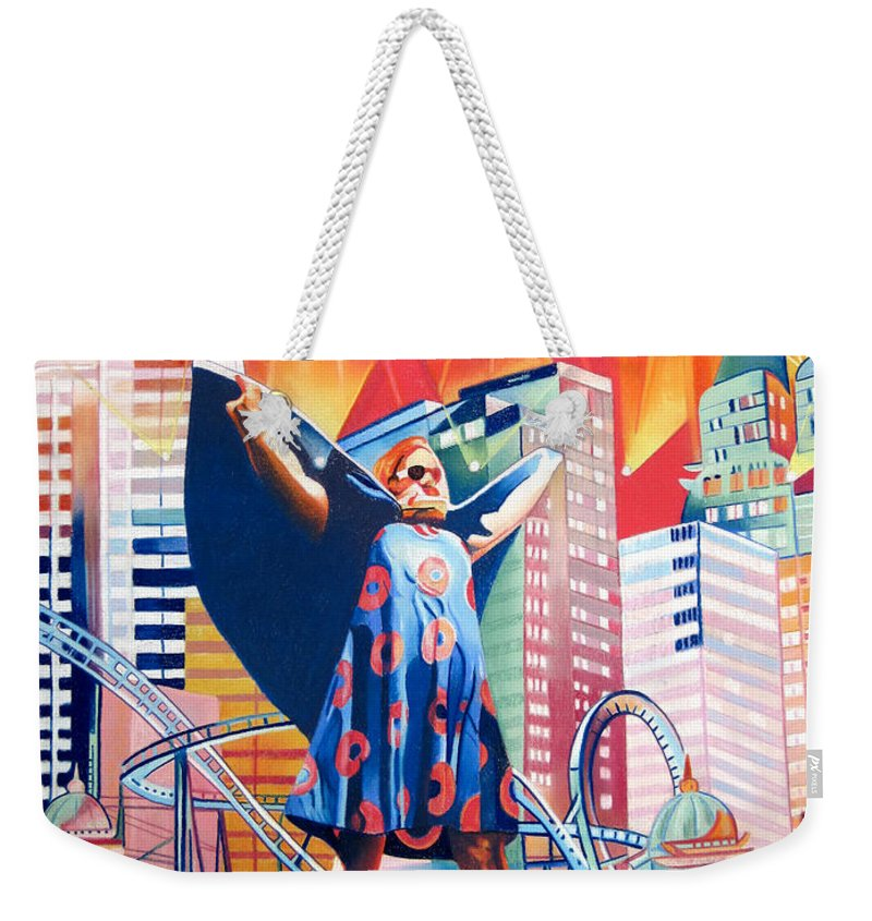 Phish Weekender Tote Bag featuring the drawing Fishman In Vegas by Joshua Morton