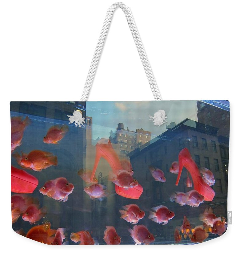 Pink Shoes Weekender Tote Bag featuring the photograph Fishy Shoes by Stefa Charczenko