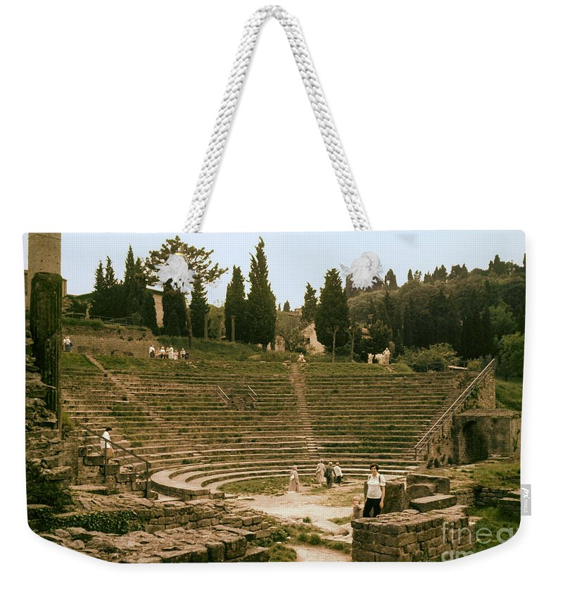 Fiesole Theatre Ruins Ruin People Person Persons Structure Structures Architecture Seat Seats Stark Stairs Building Buildings Stone Wall Stones Walls Landscape Landscapes Italy Weekender Tote Bag featuring the photograph Fisole Theatre Ruins by Bob Phillips