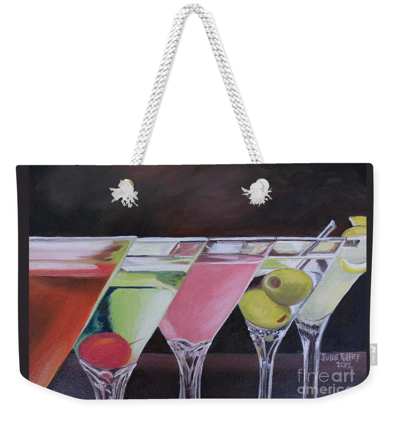 Drinks Weekender Tote Bag featuring the painting Five O'clock by Julie Brugh Riffey