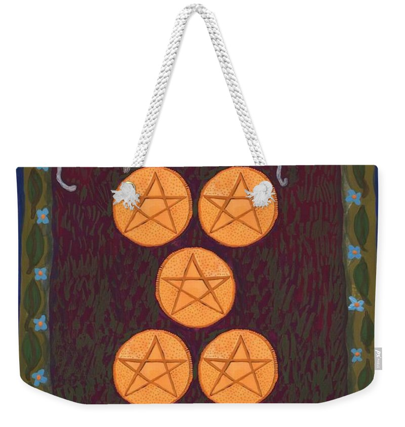 Tarot Weekender Tote Bag featuring the painting Five Of Pentacles by Sushila Burgess
