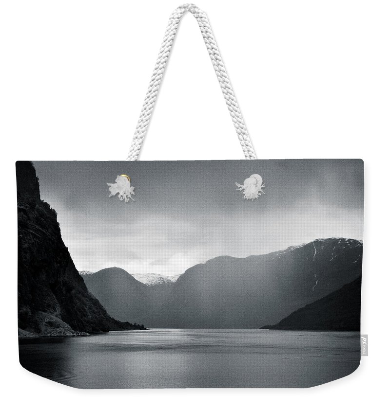 Norway Weekender Tote Bag featuring the photograph Fjord Rain by Dave Bowman