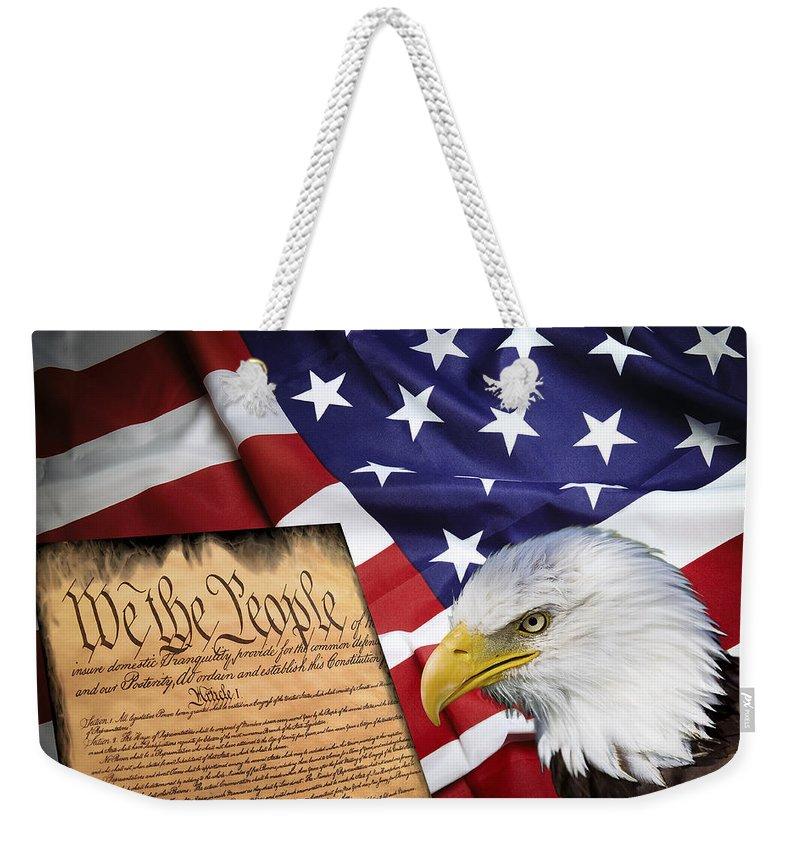 America Weekender Tote Bag featuring the digital art Flag Constitution Eagle by Daniel Hagerman
