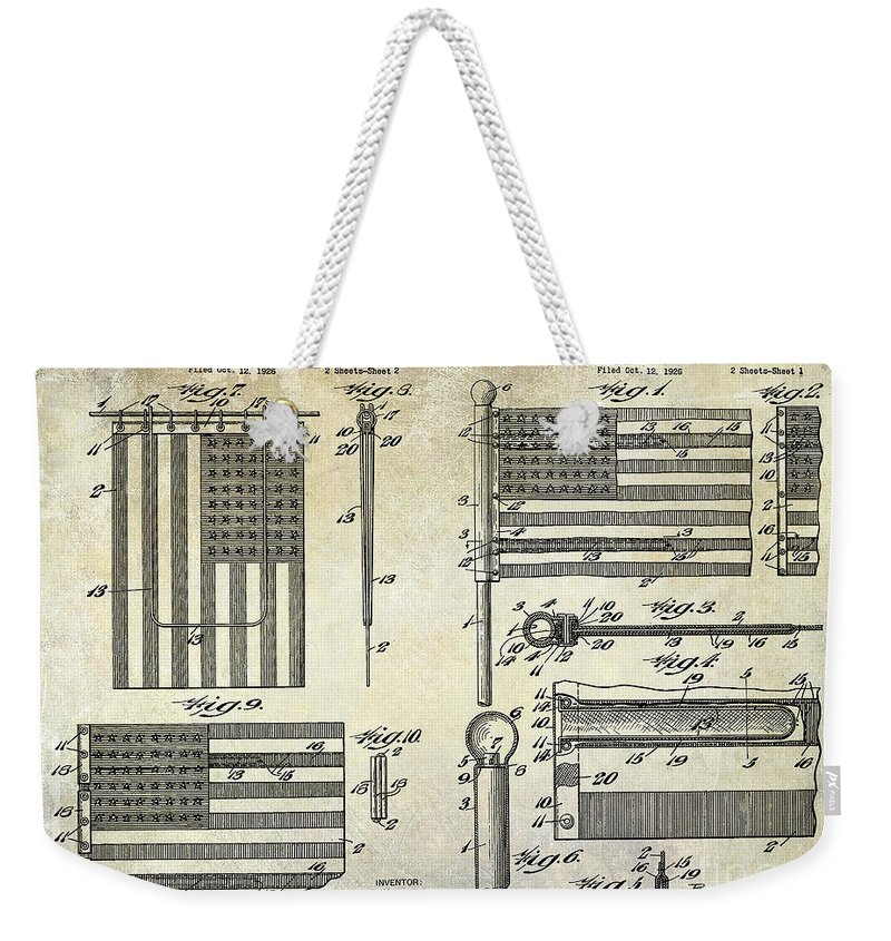 Flag Weekender Tote Bag featuring the photograph 1927 Flag Spreader Patent Drawing by Jon Neidert