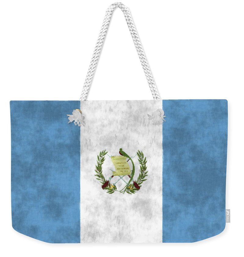 Central America Weekender Tote Bag featuring the digital art Flag Of Guatamala by World Art Prints And Designs