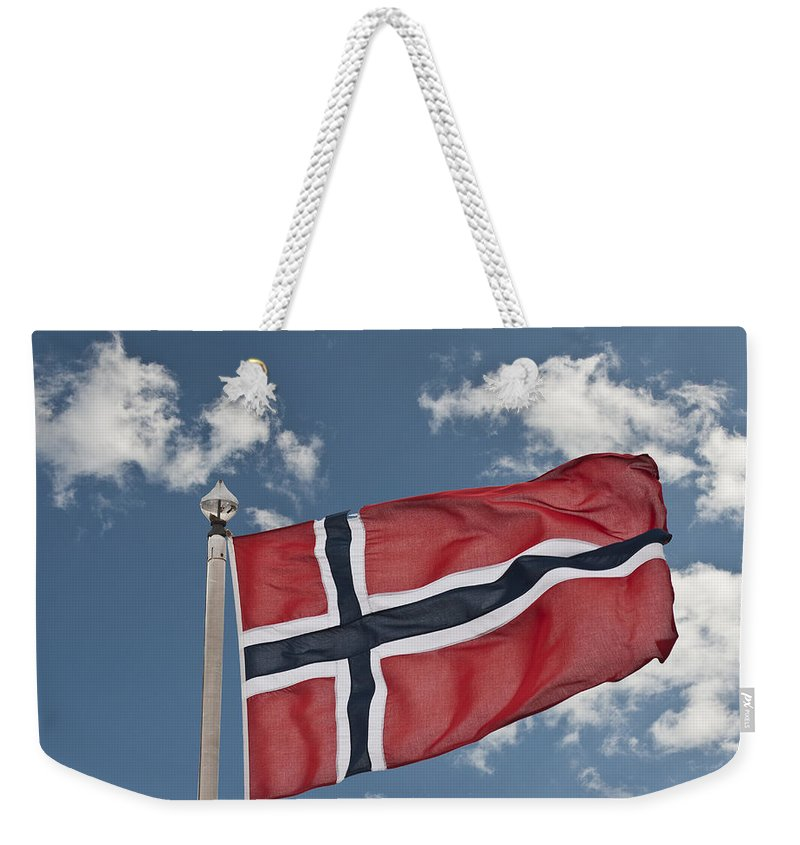 Flag Of Norway Weekender Tote Bag featuring the photograph Flag Of Norway by Steve Purnell