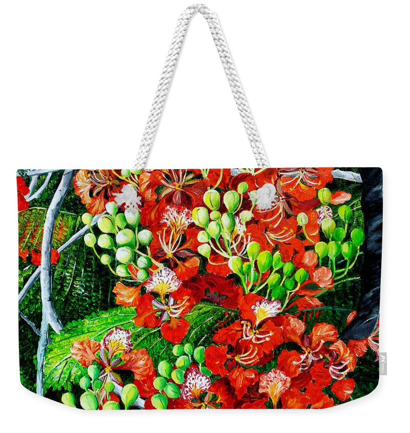 Royal Poincianna Painting Flamboyant Painting Tree Painting Botanical Tree Painting Flower Painting Floral Painting Bloom Flower Red Tree Tropical Paintinggreeting Card Painting Weekender Tote Bag featuring the painting Flamboyant in Bloom by Karin Dawn Kelshall- Best