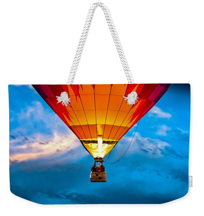 Hot Air Balloon Weekender Tote Bag featuring the photograph Flame With Flame by Bob Orsillo