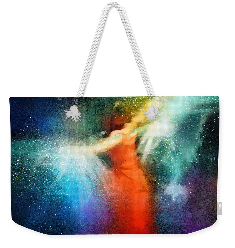 Flamenco Weekender Tote Bag featuring the painting Flamencoscape 01 by Miki De Goodaboom