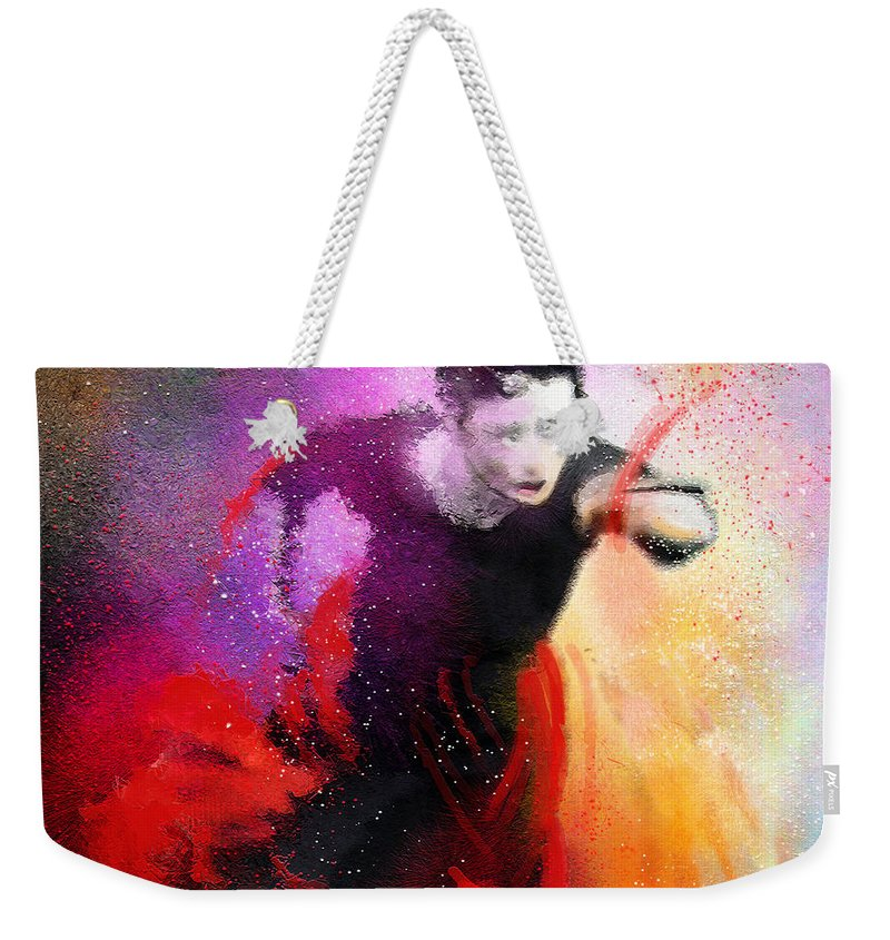 Flamenco Dance Weekender Tote Bag featuring the painting Flamencoscape 03 by Miki De Goodaboom