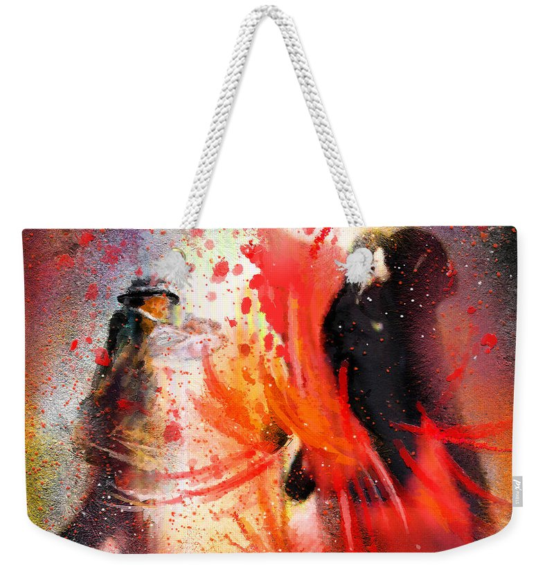 Flamenco Dance Weekender Tote Bag featuring the painting Flamencoscape 07 by Miki De Goodaboom