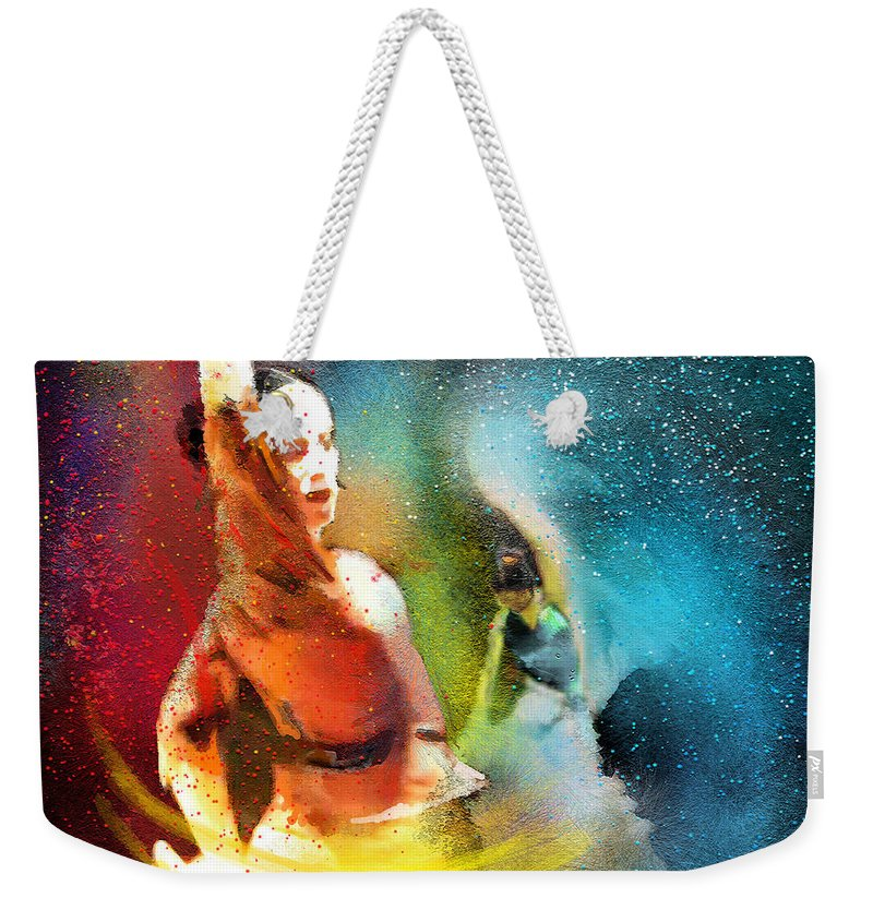 Flamenco Painting Weekender Tote Bag featuring the painting Flamencoscape 08 by Miki De Goodaboom