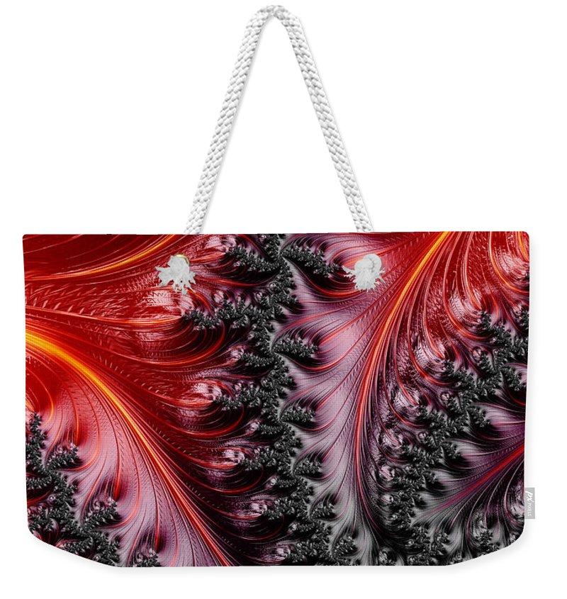 Fractal Weekender Tote Bag featuring the digital art Flames - A Fractal Abstract by Ann Garrett
