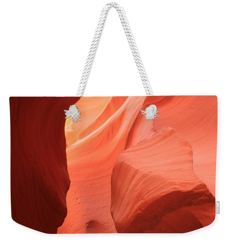 Arizona Slot Canyon Weekender Tote Bag featuring the photograph Flames In The Slot by Adam Jewell