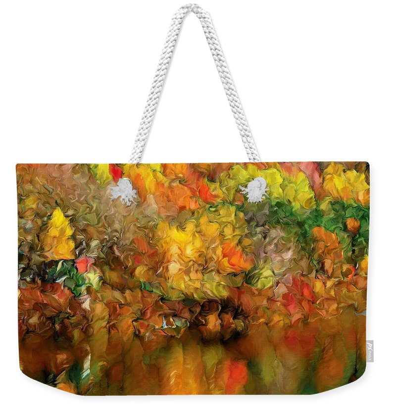 Abstract Weekender Tote Bag featuring the painting Flaming Autumn Abstract by Georgiana Romanovna