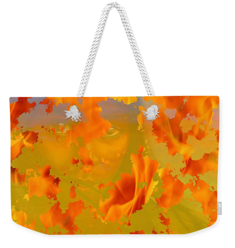 Native American Paintings Drawings Weekender Tote Bag featuring the painting Flaming Indian Girl Sunset by Mayhem Mediums