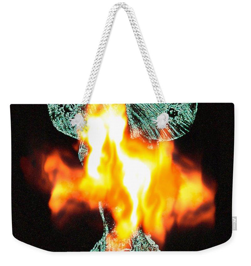 Lovers Paintings Weekender Tote Bag featuring the painting Flaming Personality by Mayhem Mediums