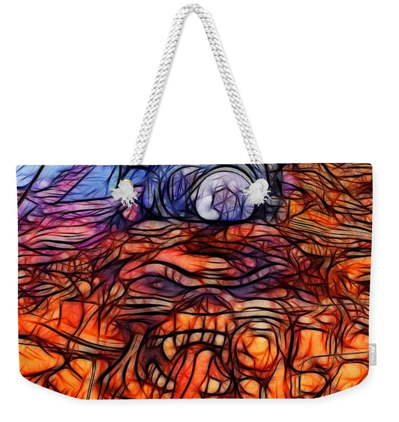 Corvette Weekender Tote Bag featuring the photograph Flaming Vette 2 by Tommy Anderson