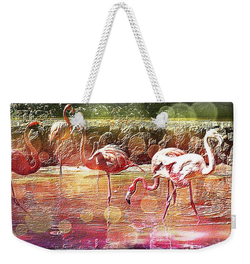 Flamingo Weekender Tote Bag featuring the digital art Flamingo Art by Absinthe Art By Michelle LeAnn Scott