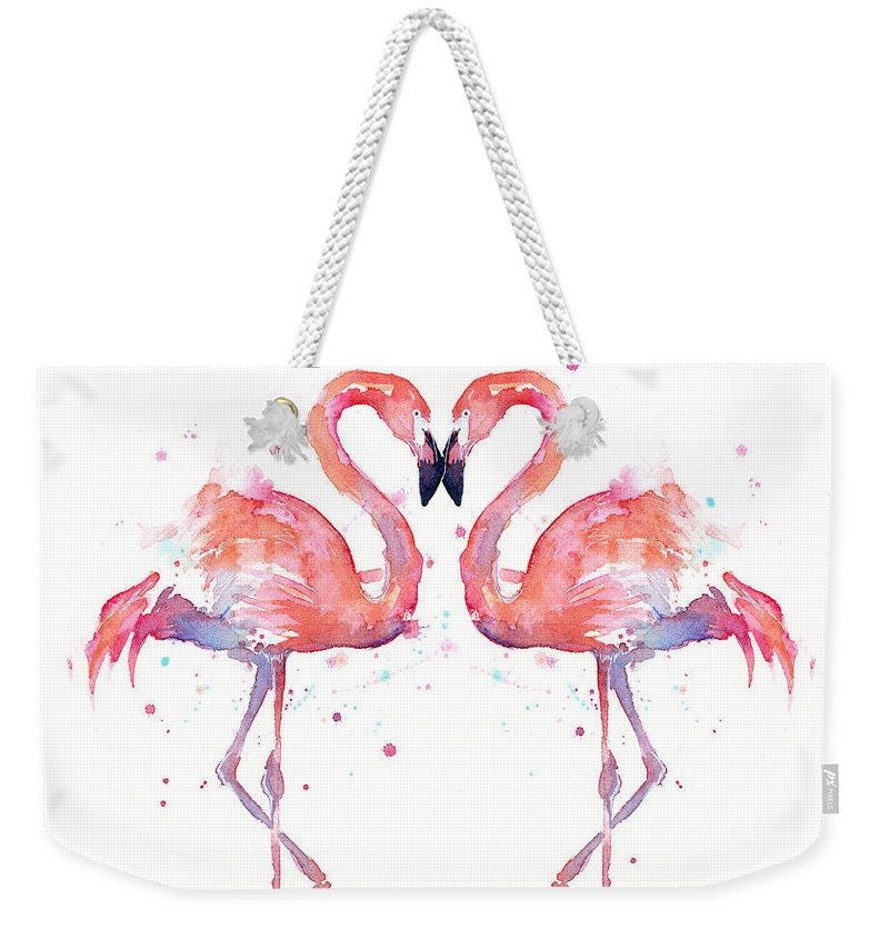Watercolor Weekender Tote Bag featuring the painting Flamingo Love Watercolor by Olga Shvartsur