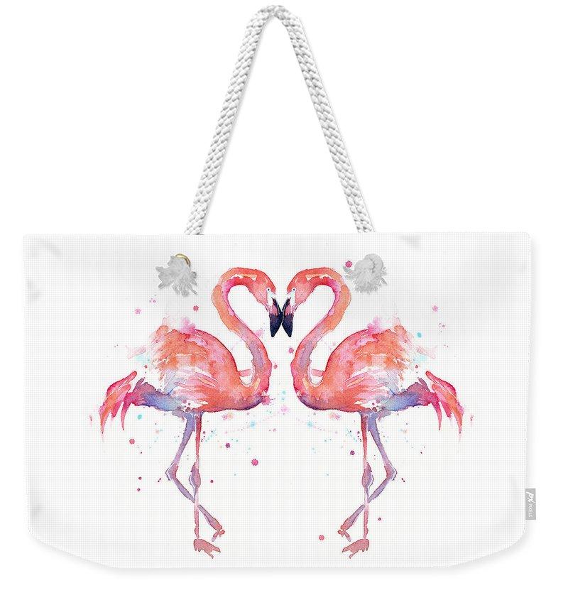 Watercolor Weekender Tote Bag featuring the painting Flamingo Love Watercolor by Olga Shvartsur