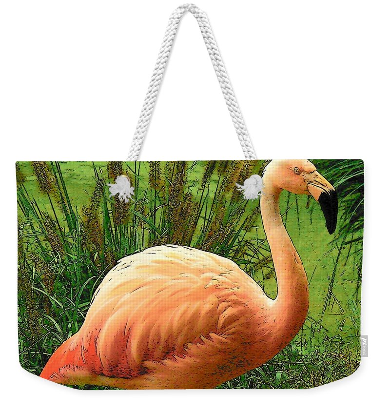 Digital Art Weekender Tote Bag featuring the photograph Flamingo by Rodney Lee Williams