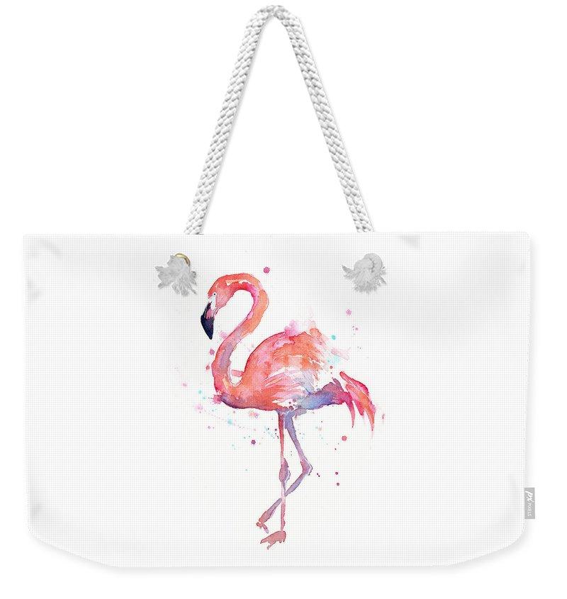Bird Weekender Tote Bag featuring the painting Flamingo Watercolor by Olga Shvartsur