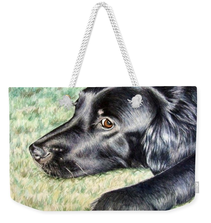 Dog Weekender Tote Bag featuring the painting Flat Coated Retriever by Nicole Zeug