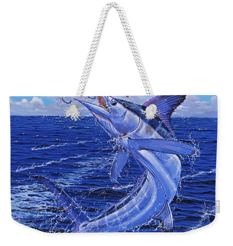 White Marlin Weekender Tote Bag featuring the painting Flat Line Off0077 by Carey Chen