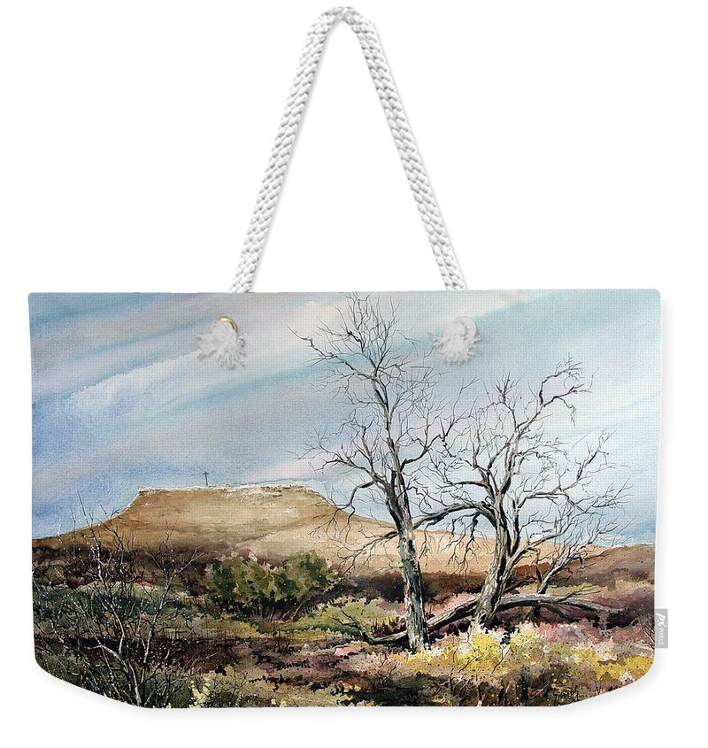 Hill Weekender Tote Bag featuring the painting Flat Top by Sam Sidders