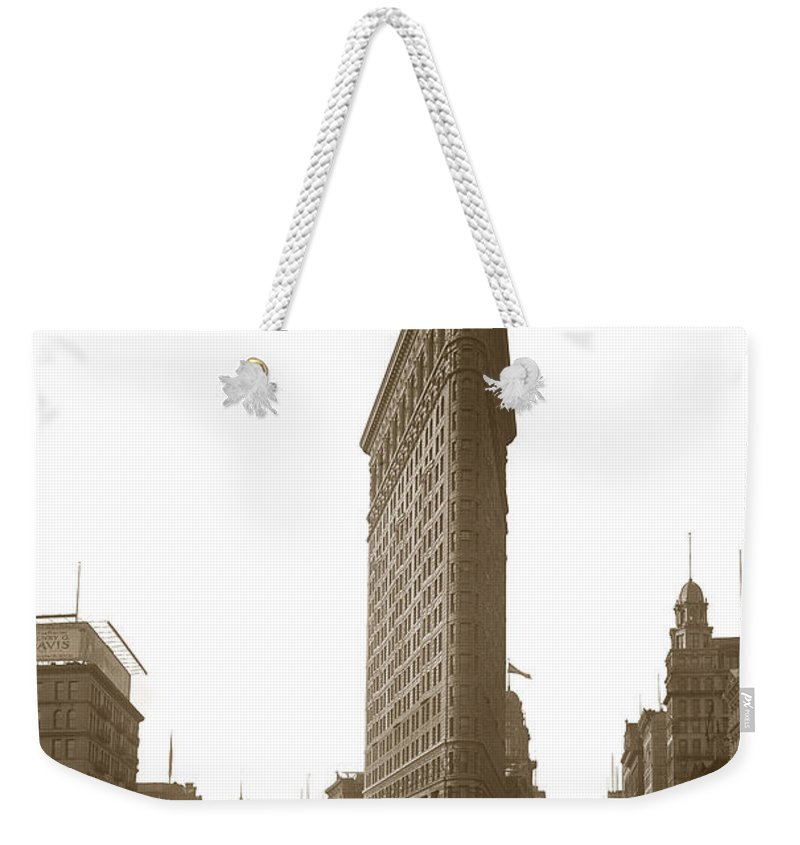 Flatiron Weekender Tote Bag featuring the photograph Flatiron Building New York City Circa 1904 by California Views Archives Mr Pat Hathaway Archives