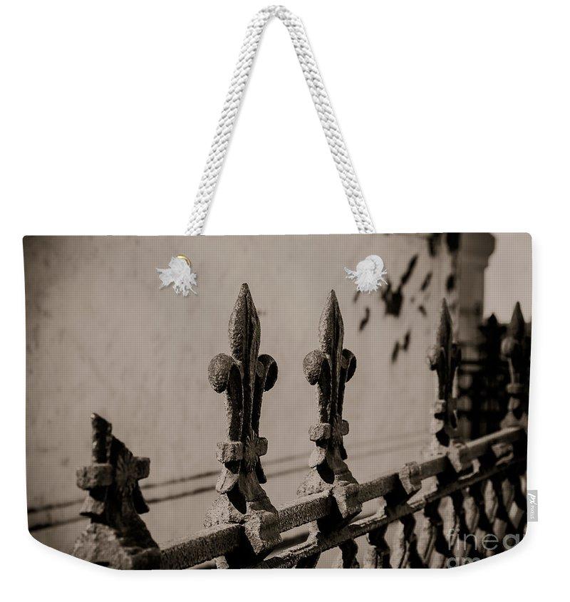 Fleur-de-lis Weekender Tote Bag featuring the photograph Fleur-de-lis - Monochrome by Kathleen K Parker