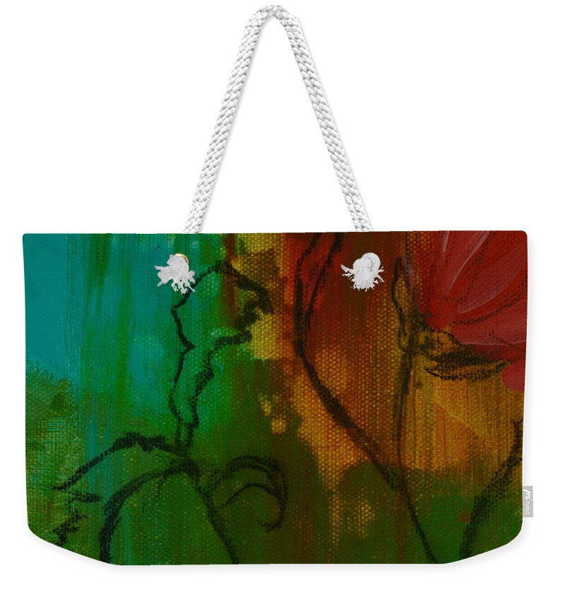 Red Flower Weekender Tote Bag featuring the painting Fleur by Robin Maria Pedrero